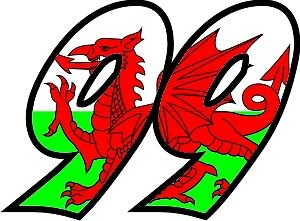 Welsh Flag Race Numbers Decals - 3 Sets - Your Number