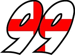 ENGLISH FLAG RACE NUMBERS DECALS - x3- YOUR NUMBER