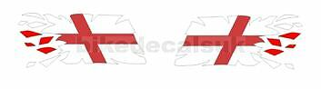2x RIPPING TEARING ENGLISH FLAG DECALS / STICKERS