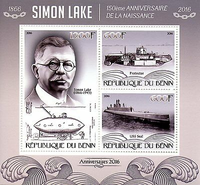 Benin 2016 MNH Simon Lake 150th Birth Anniv Submarines 3v M/S  Ships Stamps