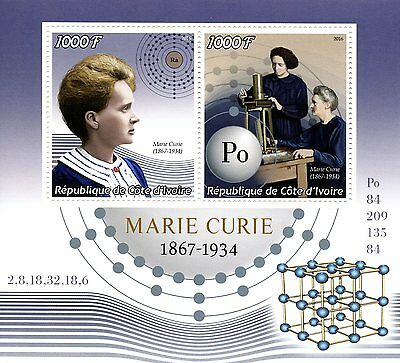 Ivory Coast 2016 MNH Marie Curie 2v M/S Physics Chemistry Science Stamps