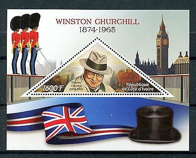 Ivory Coast 2016 MNH Winston Churchill 1v S/S Big Ben Flags Stamps