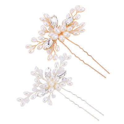 Hot Womens Pearl Crystal Flower Hair Clip Hairpin Wedding Bridal Bride Headwear