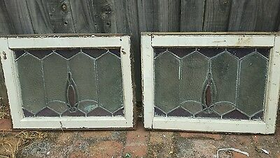 Leadlight two panels windows(antiques vintage)