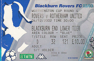 Ticket - Blackburn Rovers v Rotherham United 04.12.02 League Cup