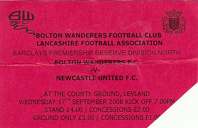 Ticket - Bolton Wanderers Reserves v Newcastle United Reserves 17.09.08