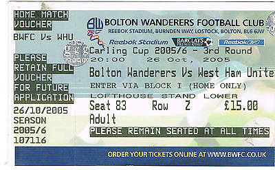 Ticket - Bolton Wanderers v West Ham United 26.10.2005 League Cup