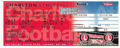 Ticket - Charlton Athletic v Bolton Wanderers 25.10.06 League Cup