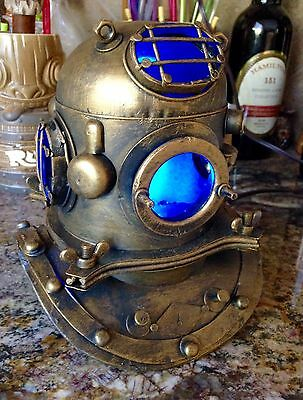 "Replica Mark V Metal Divers Helmet Nautical Lamp Tiki Bar Decor ""Ghostly Blue"""