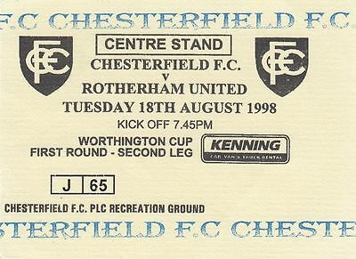 Ticket - Chesterfield v Rotherham United 18.08.98 League Cup