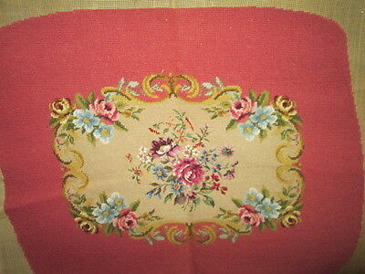 Vintage hand embroidered footstool(cushion),needlepoint-petitpoint in wool