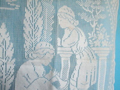 Antique filet lace curtain with childeren made from with cotton Machiene/France