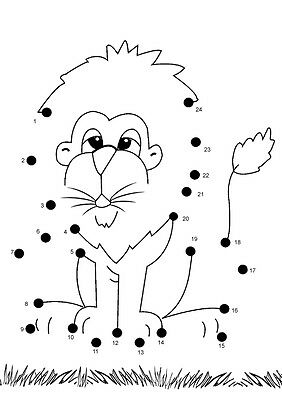 Children image picture dot to dot photo book pic lion 019