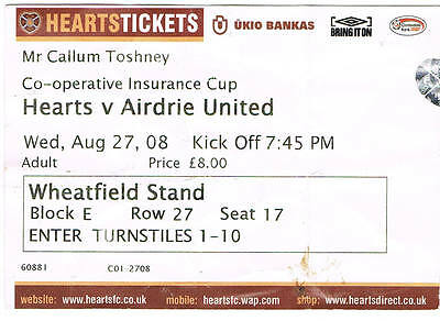 Ticket - Hearts v Airdrie United 27.08.08