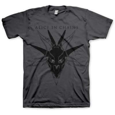 Alice In Chains Mens Charcoal Grey T-Shirt Black Skull