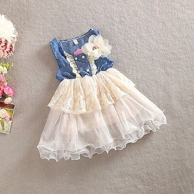 New Girl Denim Floral Dress Frill Lace Tutu Tulle summer dress Size 1,2,3,4,5,6