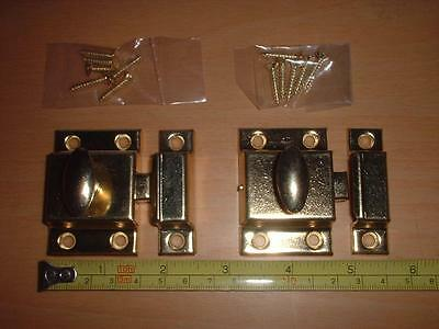 A Matched Pair Of Brass Plated Thumb Turn Cupboard / Wardrobe Locks / Latches.