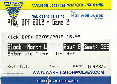 Ticket - Warrington Wolves v Hull FC 22.09.2012 Play Off Game 2