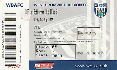 Ticket - West Bromwich Albion v Rotherham United 26.08.09 League Cup