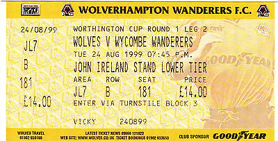 Ticket - Wolverhampton Wanderers v Wycombe Wanderers 24.08.99 League Cup