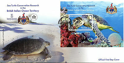 Brit Ind Ocean Ter BIOT 2016 MNH Sea Turtle Research 1v MS Cover  Turtles Stamps