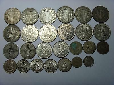 263g 1920 - PRE 1947 SCRAP AND BETTER SILVER .500 BRITISH COINS GREAT BRITAIN