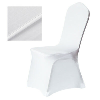UK! 100*White Flat Front Covers Stretch Spandex Lycra Chair Cover Wedding Party