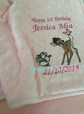 personalised dimple fleece baby blanket Bambi And Thumper x 2