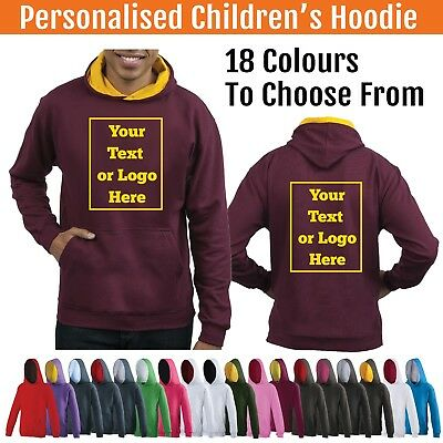 Personalised Childs Hoodie Custom Printed Kids Hoody Childrens Hooded Varsity