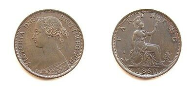 Victoria 1860 Bronze Young Head Farthing - Toothed Border - High Grade