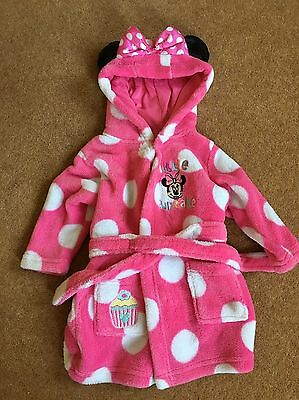 Girls Minnie Mouse Dressing Gown 3-6 Months