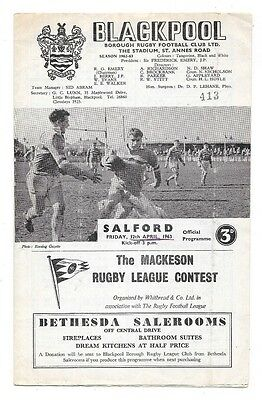 Blackpool Borough v Salford, 1962/63 - League Match Programme.