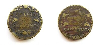 English Brass Coin Weight For 36 Thirty Six Shillings