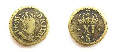 English Brass Coin Weight James I - Half Unite / 11 Shillings