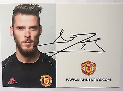RARE 2016/17 David De Gea Manchester United Signed Club Card + COA AUTOGRAPH