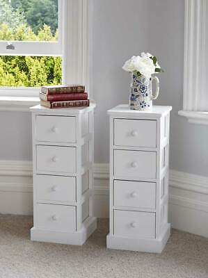 Pair of Tall White Wooden Four Drawer Bedside Tables Tallboy Unit Storage