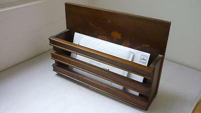 Wooden old Rack Stand  Newspaper or Letter holder with Floral inlay