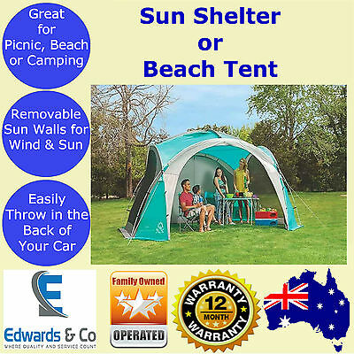 Sun Shelter Beach Tent Shade Outdoor Party Picnic Marquee Coleman 3.6x3.6m