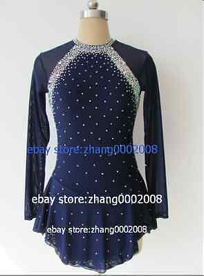 Ice skating dress.dark blue Competition Figure Skating /Baton Twirling Costume