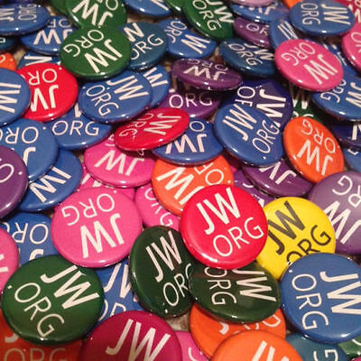 150 1.5 Inch JW.ORG Buttons Pins, different colors.