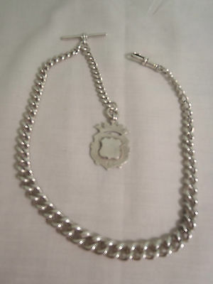 ANTIQUE STERLING SILVER  ALBERT POCKET WATCH CHAIN & FOB 47 grams  #10