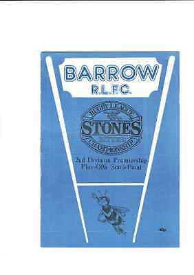 BARROW v. SHEFFIELD  PROGRAMME  7.5.89 2nd DIVISION PREMIERSHIP SEMI FINAL