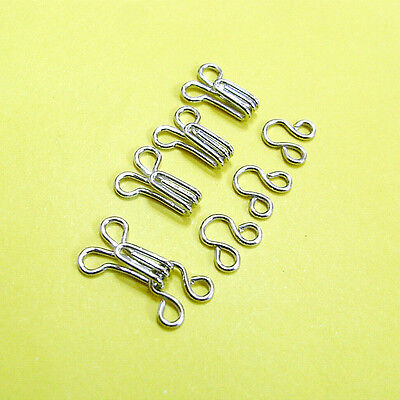 10 Hooks & Eyes Metal Hold Edges Repairs Craft Sewing Notion Size 2 (M) Silver