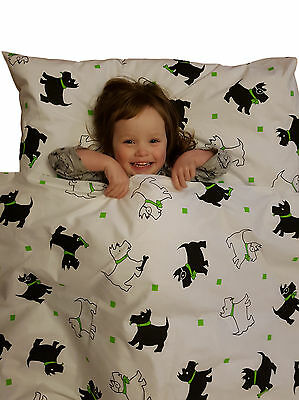 Single Duvet Cover Set Scottie Dogs 100% Cotton, With Poppers