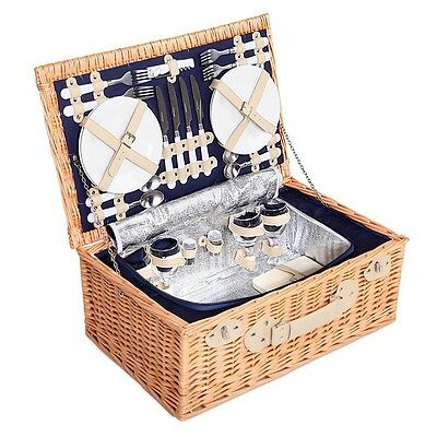 NEW Deluxe 4 Person Picnic Basket Insulated Bag Hamper Set Gift Blanket Navy