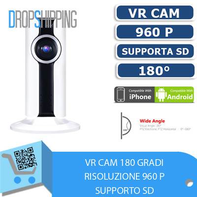 Telecamera Ip Vr Wireless Wifi 180 Gradi Panoramica Con Supporto Sd