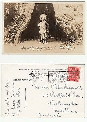"""Vancouver, Indianer Häuptling """"White Elk"""",Native canadian Indian Chief RPPC 1935"""