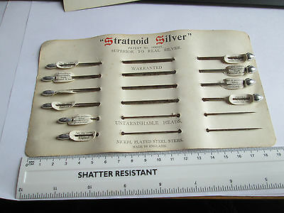 Vinatge 1920's Hat Pins (10) on original card (two styles) Stratnoid Silver