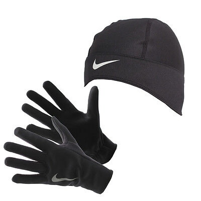Nike Womens Running Thermal Beanie Hat and Gloves Set Black Size Small New