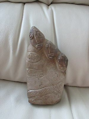 Very old solid stone carving.? Maya Mexico. Snake, turtle, frog. & people.